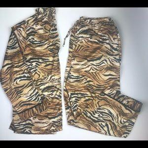 Victoria's Secret Tiger Print Satin Pajama Set